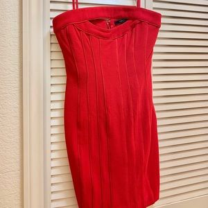 BCBGMaxazria Red Strapless Dress